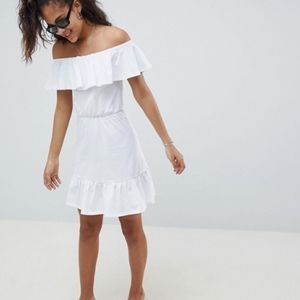 Asos white off the shoulder tiered sundress